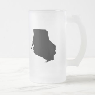 Upside Down Map of Wisconsin Frosted Glass Beer Mug