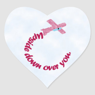 Upside Down Over You Heart Sticker