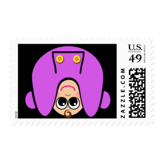 Upside Down Purple Postage Stamps