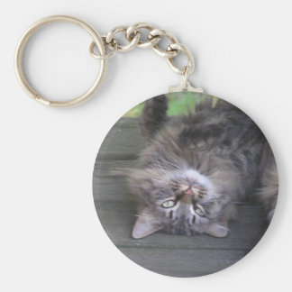 Upside Down Pussy Cat Basic Round Button Keychain