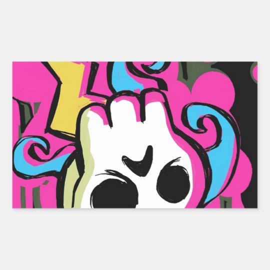 Upside Down Skull Rectangular Sticker