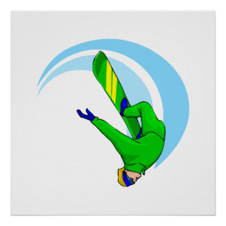 Upside Down Snow Boarder Poster