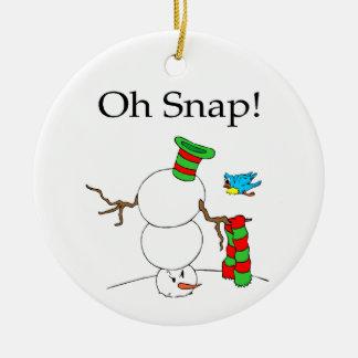 Upside Down Snowman Ceramic Ornament