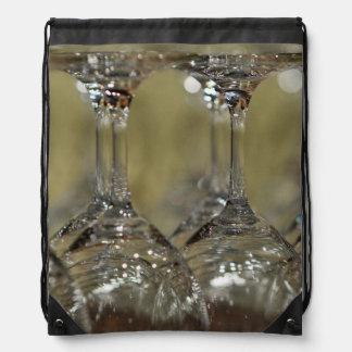 Upside Down Wine Glasses Drawstring Backpack