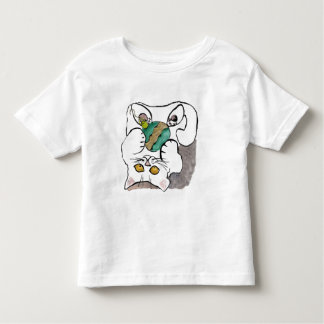upside down with a green ornament - white kitty toddler t-shirt