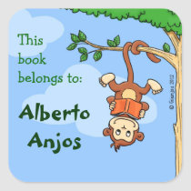 Upside Monkey / funny booklabel for kids Square Sticker