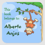 Upside Monkey / funny booklabel for kids Stickers