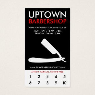 uptown barbershop loyalty business card