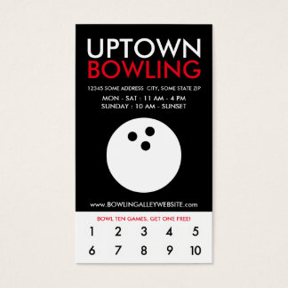 uptown bowling loyalty business card