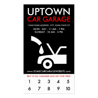 uptown car garage loyalty business card