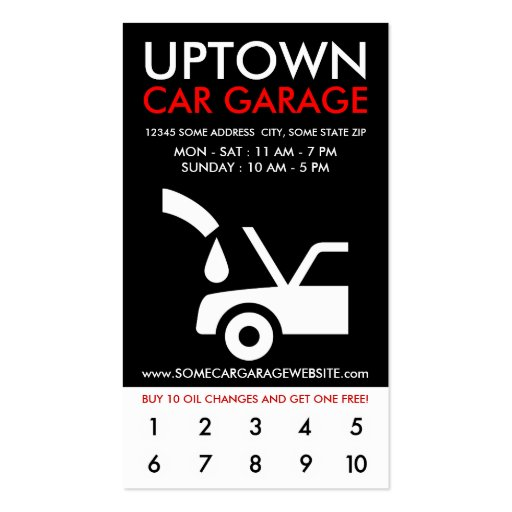 uptown car garage loyalty business cards