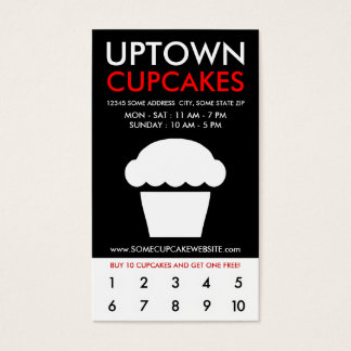 uptown cupcakes loyalty business card