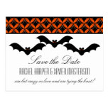 Uptown Glam Bats Halloween Save the Date Postcard