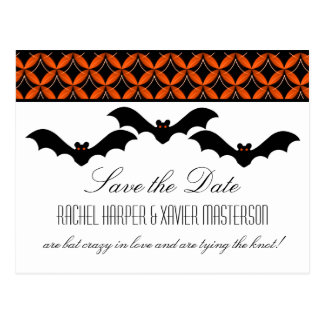 Uptown Glam Bats Halloween Save the Date Postcard