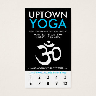 uptown om yoga loyalty business card