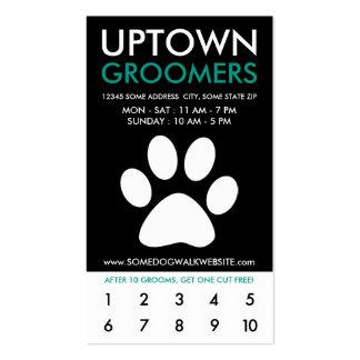 uptown pet grooming loyalty business card