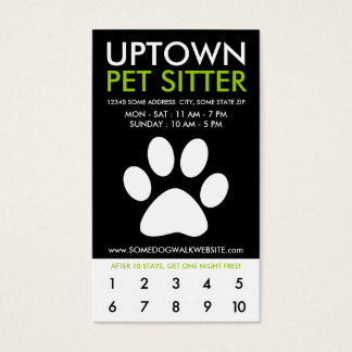 uptown pet sitter loyalty business card