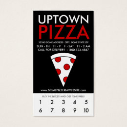 uptown pizza loyalty business card