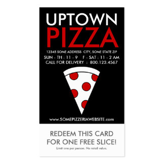 uptown pizza slice coupon business card