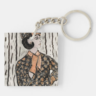 Uptown Retro Girl II Double-Sided Square Acrylic Keychain
