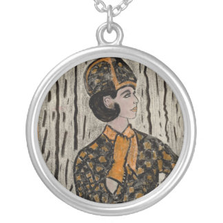 Uptown Retro Girl Round Pendant Necklace