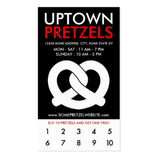 uptown soft pretzels loyalty Double-Sided standard business cards (Pack of 100)
