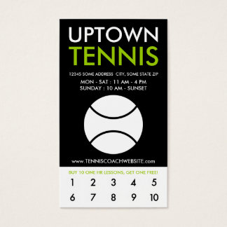 uptown tennis loyalty business card