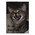 ¿Ur de Iz burfday? tarjeta de cumpleaños chistosa