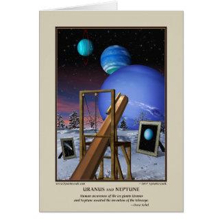 Urano y tarjeta de Neptuno