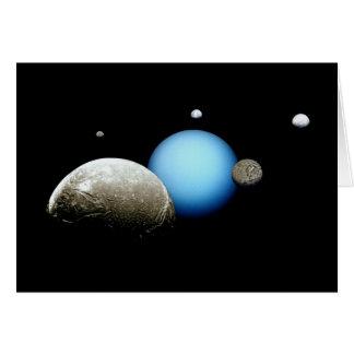 Uranus and Moons NASA Planet Greeting Card