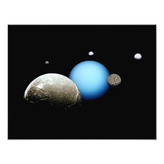 Uranus and Moons NASA Planet Photo Print