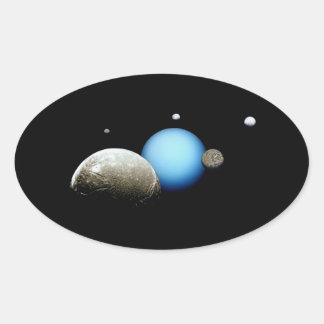 Uranus and Moons NASA Space Oval Sticker