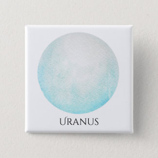 Uranus Planet Watercolor Square Button
