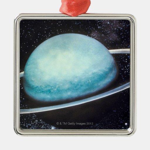 Uranus Square Metal Christmas Ornament