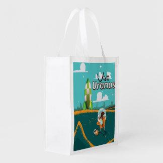 Uranus vintage cartoon Travel Poster Reusable Grocery Bag