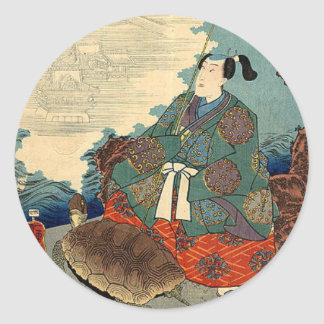 Urashima Taro and the Turtle Japanese Fairy Tale Classic Round Sticker