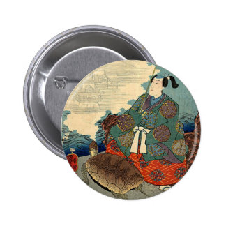 Urashima Taro and the Turtle Japanese Fairy Tale Pinback Button