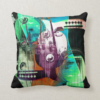 urban acoustic guitar abstract collage throw pillow