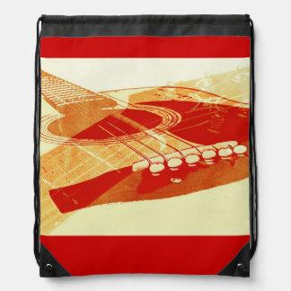 Urban acoustic guitar music drawstring bag