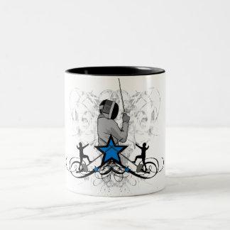 Urban and Hip Fencing Illustration Two-Tone Coffee Mug