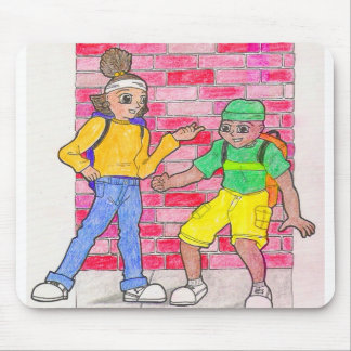 Urban anime art gallery characters mouse pad