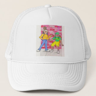 Urban anime art gallery characters trucker hat