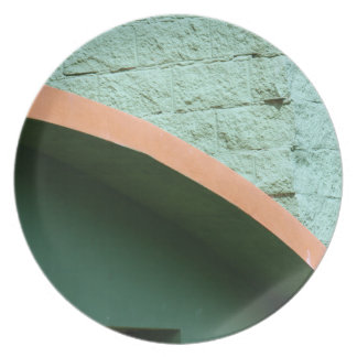 Urban architecture in green color dinner plate