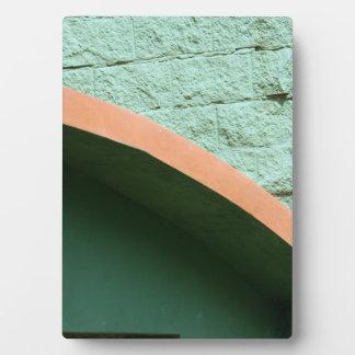 Urban architecture in green color plaque