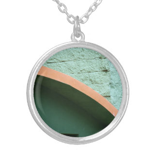 Urban architecture in green color round pendant necklace
