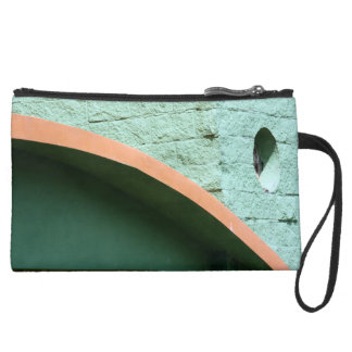 Urban architecture in green color suede wristlet wallet