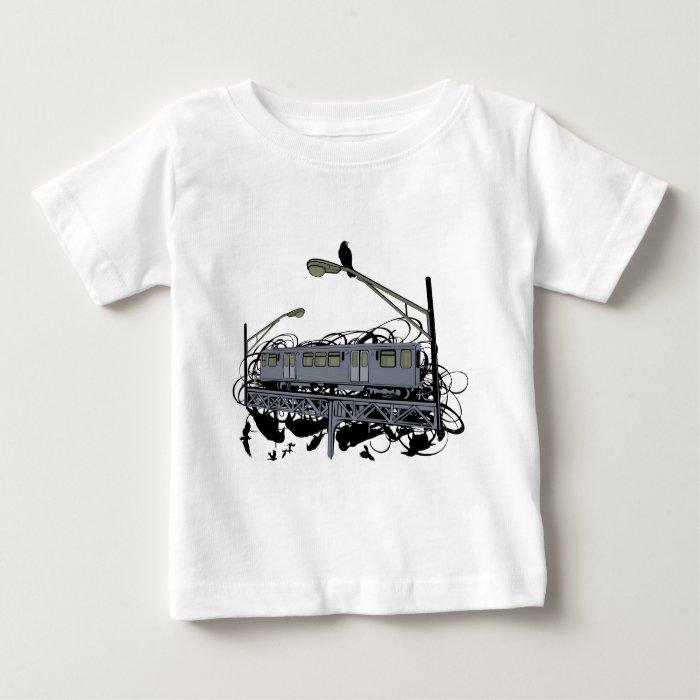 Urban Artistic Illustrated El Train & Crows T-shir Baby T-Shirt