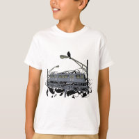 Urban Artistic Illustrated El Train & Crows T-shir T-Shirt