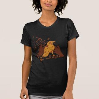 Urban Artistic Lone Crow Illustration T-Shirt