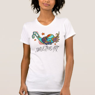 Urban Artistic Sweetheart Swallow Tattoo Bird T-Shirt